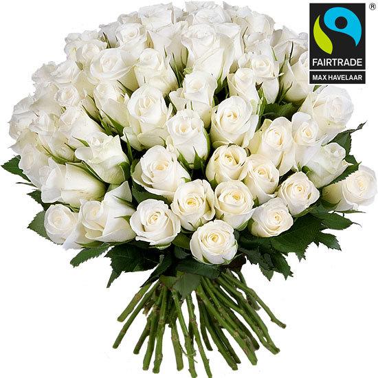 Roses équitables - Bouquet de roses blanches